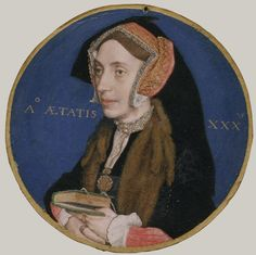 **Diameter 45 mm**    Metropolitan Museum of Art   Margaret More (1505–1544), Wife of William Roper Artist: Hans Holbein the Younger (German, Augsburg 1497/98–1543 London) Date: 1535–36 Medium: Vellum laid on playing card Classification: Miniatures Accession Number: 50.69.2