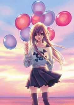 View of an anime girl holding balloons in front of a sunset
