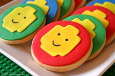 This site has some neat LEGO party ideas that I used for my son's B-day. I even made the cookies pictured here, only with icing and the yellow fondant lego head. Lego Themed Party, Lego Birthday Party, Boy Birthday Parties, 5th Birthday, Party Themes, Party Ideas, Free Birthday, Birthday Cake, Lego Parties