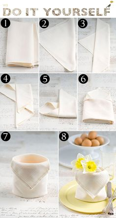 Easy Christmas Crafts, Simple Christmas, Christmas Decorations, Table Decorations, Table Setting Etiquette, Table Settings, Napkin Folding, Paper Folding, Linen Napkins