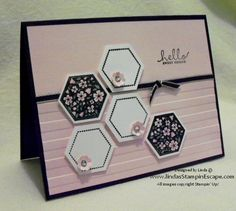 """Hexagon Punch Coordinates with stamp set. Cardstocks: Pink Pirouette, Whisper White & Basic Black. StazOn Ink Pad. Big Shot & Stripes EF. Black 1/8″ Taffeta Ribbon. """"Flower"""" from Itty Bitty Shapes Punch Pack. Glue Dots to adhere the """"flowers"""""""