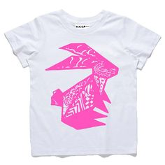 Our Maiko Mini Tiger Kids Tee is screen printed on an AS colour premium white T-shirt in neon pink print.    GRAPHIC SIZE AND PLACEMENT WILL VARY