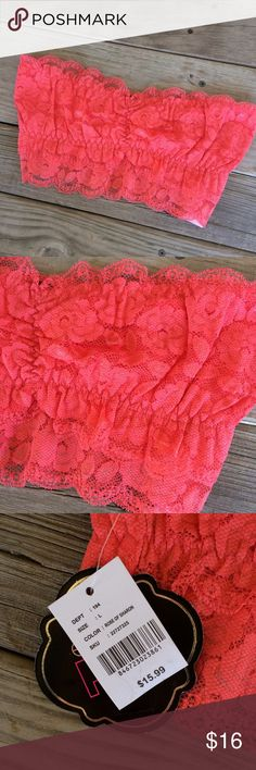 ❗️Last 1❗️BRAND NEW Coral Lace Bandeau Bra Brand new with attached tags. Juniors size large. Bundle and save5%! ❌Price is firm unless bundled❌ Electric Pink Intimates & Sleepwear Bandeaus