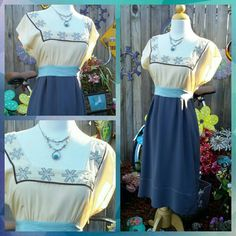 Diodore By Anthropologie Rare Dress 100% Silk Ties in the Back Missing a couple pearls Zipper on the side With Beaded Princess neckline Sea green, grey and cream in Color Anthropologie Dresses Midi