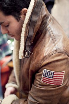 rugged Leather Bomber jacket
