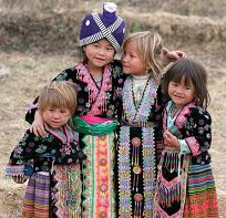 Meo (Hmong) children with black and blond                           hair