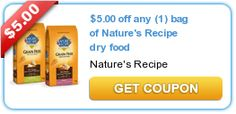 $5.00 off any (1) bag of Nature's Recipe dry food