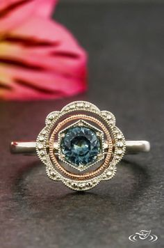 Montana Sapphire Engagement Ring with Floating Rose Gold Milgrain Halo. Green Lake Jewelry 125630