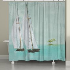 Experience coastal living every day! These two sailboats against a calming light blue sky will create a serene atmosphere for your bathroom. All of our products are digitally printed to create crisp,