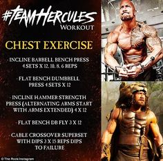 The Rock Hercules Chest Workout. Just another great showing of how the legend of Hercules lives on. A whole workout series titled TeamHercules. A workout dedicated to getting muscle mass and gaining strength. Hercules The Rock, The Rock Hercules Workout, The Rock Workout, The Rock Dwayne Johnson Workout, Bodybuilding Training, Bodybuilding Workouts, Bodybuilding Motivation, Chest Workouts, Fun Workouts