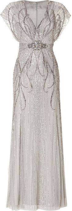 Jenny Packham Sequin Embellished Gown in Platinum on http://shopstyle.com