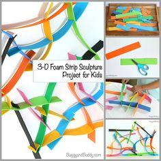 Building Activity for Kids: 3-D Foam Strip Sculptures. Perfect for a quiet bin!