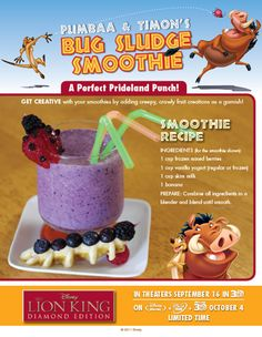 Lion King - Bug Sludge Smoothie--love the fruit bugs! Disney Menus, Disney Dishes, Disney Drinks, Disney Desserts, Disney Snacks, Disney Food, Disney Parties, Disney Ideas, Disney Cars