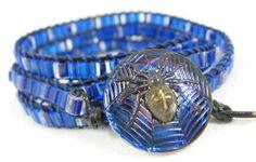 Leather Bead Bracelet Wrap Royal Cobalt Blue by VioletJewelry, $46.00