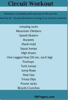 Cardio Circuit - PBFingers work-outs