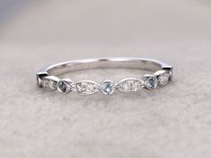 Blue Topaz and Diamond Wedding Rings 14k White Gold Antique Art Deco Half Eternity Band Marquise Annivery