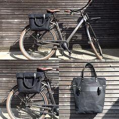 Zijtas fietsen / fiets tas in waxed doek met ritssluiting /