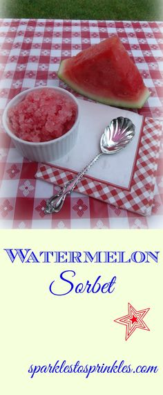 Delicious watermelon sorbet that is made with 4 simple ingredients. Easy to make. A divine treat.