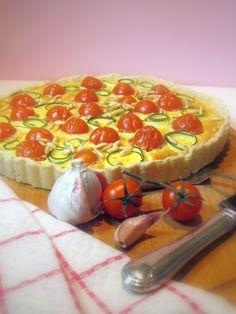Tra dolce ed amaro: Freitagsquiche: Tomaten-Zucchini-Tarte mit Ziegenfrischkäseguss