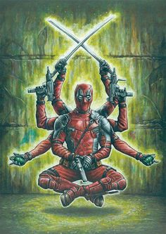 Worship the D! Add a print of this to complete your shrine to 'the merc with the mouth' Deadpool. Marvels most notorious comic book character is coming . Worship the D! Anime Comics, Marvel Comics, Bd Comics, Marvel Heroes, Deadpool Film, Deadpool Y Spiderman, Deadpool Funny, Deadpool Wolverine, Deadpool Wallpaper