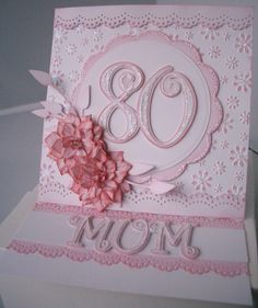 A friend asked me to make an birthday card for her mum. The only thing that she said was that it should be pretty and sparkly so hopefu. 90th Birthday Cards, 80th Birthday Invitations, Special Birthday Cards, Birthday Cards For Women, Handmade Birthday Cards, Birthday Ideas, Happy Birthday, Shaped Cards, Fancy Fold Cards