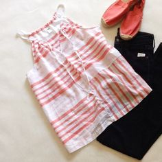 HOST PICK String Strap Top Lightweight coral and white striped top. String straps, ties in front. Modern loose fit.  Thin fabric, very slightly see through. 100% cotton. From a smoke-free home | No PayPal | Bundle discounts | Make me an offer! | NO TRADES Old Navy Tops Tank Tops