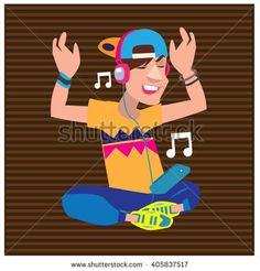 Vector illustration fun young boy listening and enjoying music