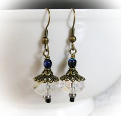 Vintage Style Jewelry - Earrings with Crystal Dangles with Brass Bead Caps. $14.00, via Etsy.
