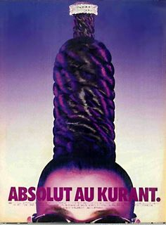 Vintage Absolut Kurant Vodka Ad With Hair Braid Wrapped Bottle