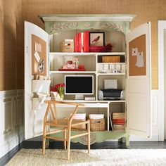 No space for a separate home office?The solution is a home office armoire. Check out these 10 clever home office ideas that fit conveniently in an armoire! Computer Armoire, Hideaway Computer Desk, Tv Armoire, Antique Armoire, Jewelry Armoire, Jewelry Box, Home Office Cabinets, Desks For Small Spaces, Small Space Solutions