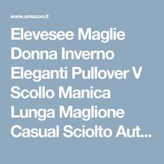 Elevesee Maglie Donna Inverno Eleganti Pullover V Scollo Manica Lunga  Maglione Casual Sciolto Autunno Maglione Moda e271502afc9