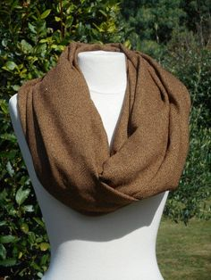 snood tour du cou écharpe tube cache cou  femme  lainage  marron collection 32d3c654d8f