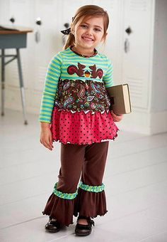 A SPLENDID Brown SQUIRRELS Tiered Top Pant set by Peaches n' Cream. Bright knits and whimsical appliques in their high-quality clothes are as fun and colorful as the children who wear them! (sz. 2T - 4T)