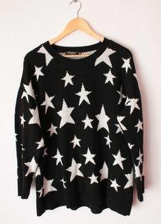 Kup mój przedmiot na #vintedpl http://www.vinted.pl/damska-odziez/bluzy-i-swetry-inne/12635664-sweter-sweterek-w-gwiazdgki-czarny-oversize-l