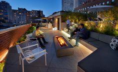 Rooftop deck zones : fire pit, lounge cabana area, zen grass patch + garden