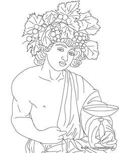 Voici un coloriage historique sur la mythologie grec avec Dionysos, le dieu du vin et de la fête. Un coloriage original pour faire découvrir l'histoire et la mythologie aux enfants de manière ludique.