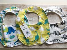3 pack dinosaur bibs, 0-3 months cotton burp cloths, drool bib, dribble bib, new baby gift set, baby boy feeding bibs by SmallBearCraft on Etsy  #babyshowerideas