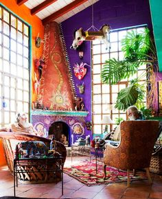 fantastic color and decor! a bit of southwest and a bit of funk. home of ann summa. http://thatbohemiangirl.tumblr.com/post/45975701630/my-bohemian-homesource-ann-summa