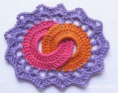 """Crochet Square - Motif 143 from Edie Eckman's book """"Beyond the square"""" - crochet by Sewing Daisies"""