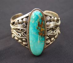 Reserved Susan Large vintage hallmarked Navajo heavy sterling Blue Gem Mine…