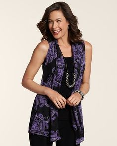 Chico's Travelers Collection Paisley Mesh Vest