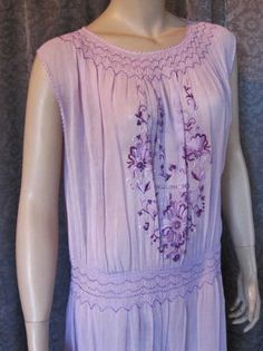 1920s, 1930s Flapper Gatsby  Bohemian, Hugarian Embroidered Day Dress, Lavender, Lilac and Purple, Delightful, Wedding, Bridal