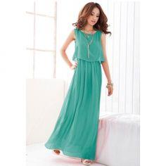 35ee9de86f73  9.85 Sophisticated Elastic Waist Sleeveless Chiffon Maxi Dress For Women  Chiffon Dress Long