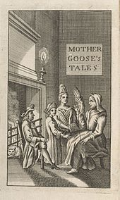 "Frontispiece from the 1729 English translation of Perrault's Tales.  Here the sign that reads ""Mother Goose Tales"" is on the wall instead of on the door as in some earlier French versions."