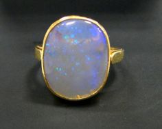 Opal ring~ Vintage 18 k Solid gold Opal gemstone ring jewelry-9717