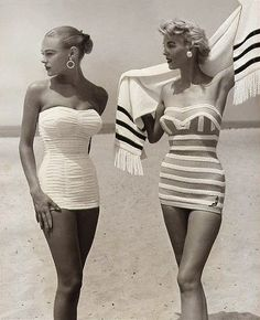 Retro Vintage vintage swimwear retro swimsuit vogue Everyone would look great in these today in the 2010 Glamour Vintage, Vintage Beauty, Vintage Models, Moda Vintage, 1950s Fashion, Vintage Fashion, Club Fashion, Classy Fashion, Suit Fashion