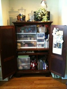 one fiber enthusiast's Knitting Central - I have often thought of obtaining a defunct entertainment cabinet and repurposing it to house my vice. Sewing Room Storage, Yarn Storage, Craft Space, Space Crafts, Computer Armoire, Sewing Cabinet, Organizing, Organization, Studio Ideas
