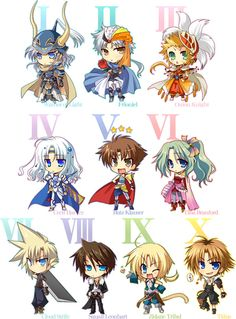 Warrior Of Light,Firion,Onion Knight,Cecil Harvey,Bartz Klauser,Terra Branford,Cloud Strife,Squall Leonhart,Zidane Tribal And Tidus From Dissidia Final Fantasy