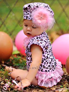 Pink Leopard Bodysuit with Ruffle Bottom