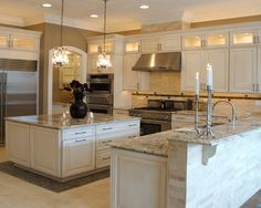 In at the moment's publish we are going to talk about concepts bianco antico granite for kitchen. bianco antico granite in addition Off White Kitchen Cabinets, White Cabinets White Countertops, Kitchen Countertop Decor, Off White Kitchens, Stained Kitchen Cabinets, Kitchen Flooring, Upper Cabinets, Tan Kitchen, Kitchen Decor